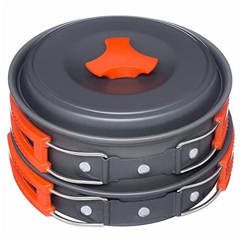 YUXIwang Utensilios de cocina portátil de camping vajilla de cocina Set de cocina al aire libre sartenes tazón cuchara tenedor Utensilios para senderismo picnic viajes campismo salvaje (color naranja)