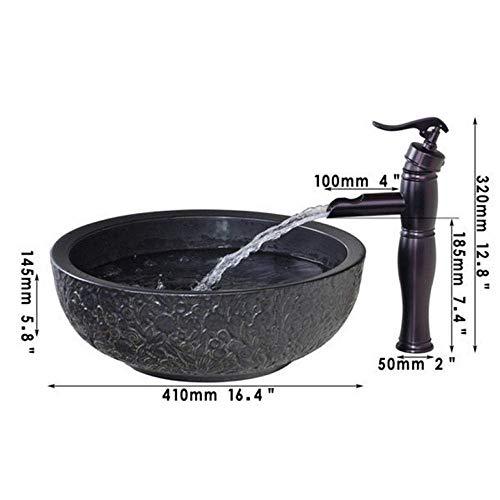 shuip Wasserhahn/Badausstattung Keramikschale, Waschbecken, Waschöl eingeriebener Bronze-Wasserhahn mit rundem Keramik-Waschbecken-Set Wasserhahn Waschbecken-Zubehör
