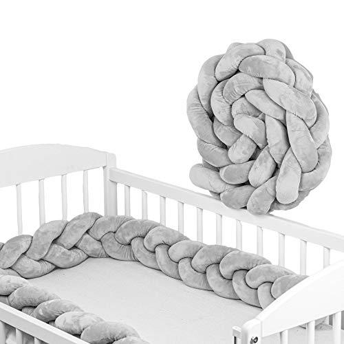 Bettschlange Baby geflochten Bettumrandung - Bettrolle für Babybett nestchen schlange Nestchenschlange grau 220 cm