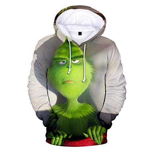 TANGNIU Colorido Estampado 3D Sudadera con Capucha Manga Larga Cordón Bolsillo Sudadera Engrosamiento Neutral Hombres Y Mujeres Suéter AA-1473 Green Mob