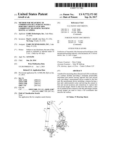 Method for measuring 3D coordinates of a surface with a portable articulated arm coordinate measuring machine having a camera: United States Patent 9772173 (English Edition)