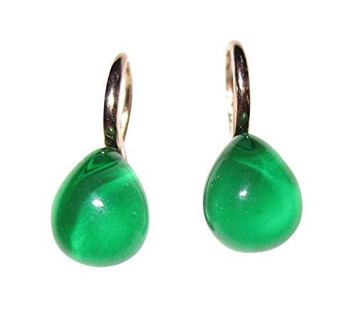 Smaragd-groene oorhangers oorbellen licht klein cabochon-steen druppelvormige haak sterling zilver rood-verguld 18 karaat Italië vrouwen meisjes