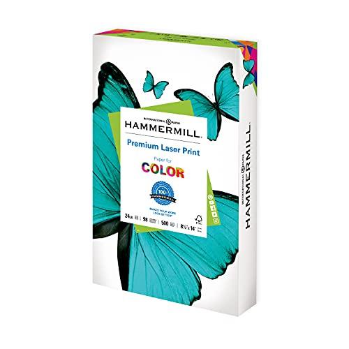 Hammermill Printer Paper, Premium Laser Print 24 lb, 8.5 x 14-1 Ream (500 Sheets) - 98 Bright, Made in the USA, 104612