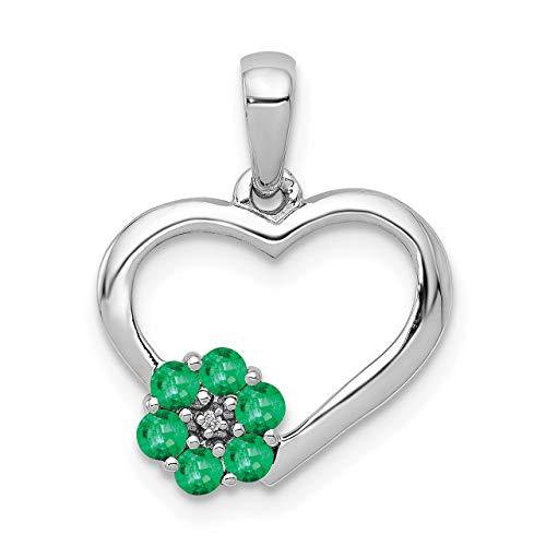 Lex & Lu - Colgante de oro blanco de 14 K con diamantes y esmeralda en forma de corazón...