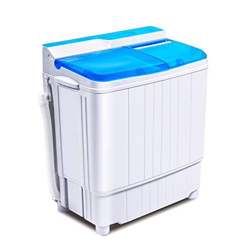 INTERGREAT Portable Washing Machine Mini 17.6 Lbs Compact Washer Machine And Dryer Combo w/11 Lbs Small Twin Tub Washer and 6.6 Lbs Spin Cycle for Camping, Apartments, Dorms, College Rooms, Rv's ( Blue )