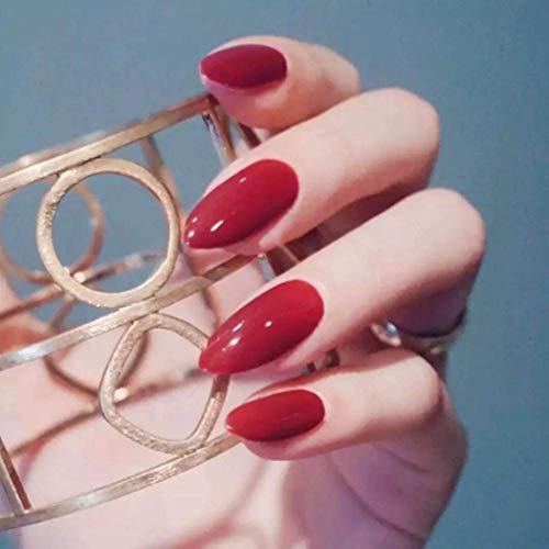 Handcess 24Pcs Bunte Full Cover Medium Matte Stiletto Form Sharp False Gel Nägel Art Tips Sets (Rot)