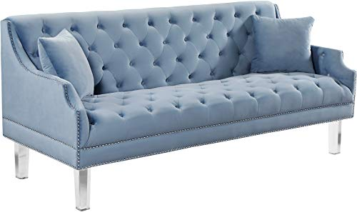Meridian Furniture Roxy Collection Modern | Contemporary Velvet Upholstered Sofa with Luxurious Deep Tufting, Nailhead Trim and Acrylic Legs, Sky blue