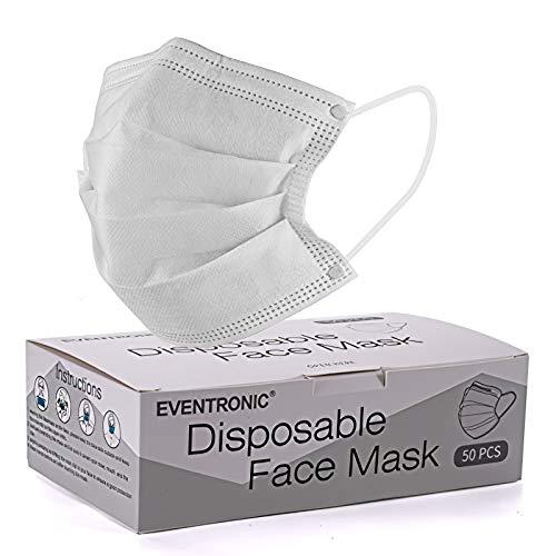 50 Stück Einweg-Masken, 3-lagig, schützt vor Staub, atmungsaktiv, Unisex, Einweg-Ohrschlaufen, Mundschutz, Gesichtsschutzmasken, Einheitsgröße