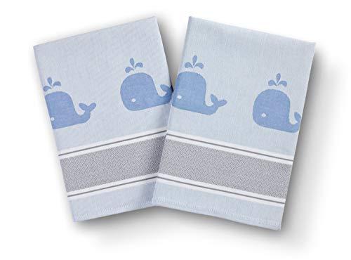 saewelo 2er-Set Geschirrtücher in Geschenkverpackung | 50 x 70 cm | 100% Baumwolle | Küchentücher | Trockentücher | Baumwolltücher (Wal, Blau)