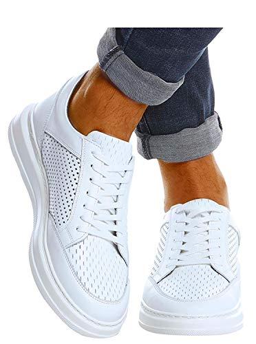 Leif Nelson Herren Schuhe Leder Freizeitschuhe elegant Winter Sommer Freizeit Männer Sneakers Sportschuhe Laufschuhe Halbschuhe LN437 Größe 44 Weiß