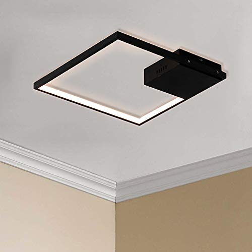 Leniure Zwart Vierkant LED Licht Plafondlamp Kroonluchter Verlichtingsarmatuur 40 cm Breed 40 cm Diep 7 cm Hoog, Warm Wit 3000K