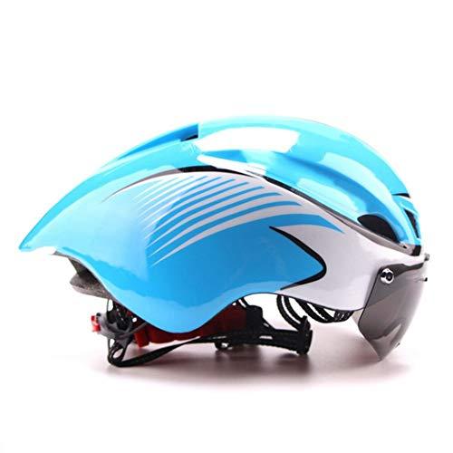 Casco de Bicicleta con Gafas Ciclismo de Carretera Bicicleta Casco de Seguridad Deportivo Montar a Caballo Casco de contrarreloj en Molde para Hombre Blue