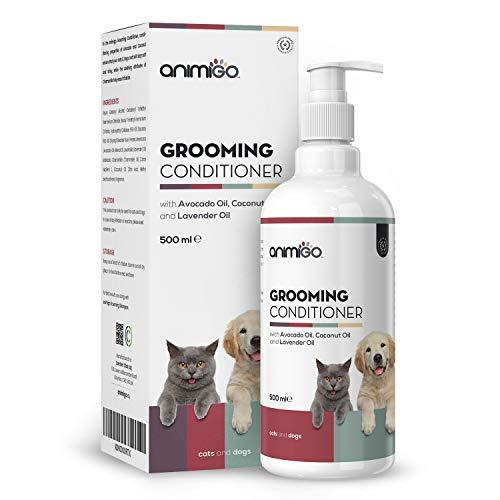 Animigo Acondicionador para Perros y Gatos para Pieles Sensibles 500ml Acondicionador Desenredante, Suavizante y Hidratante, para Mascotas con Alergias y Nudos, Fórmula Antialérgenica con Lavanda