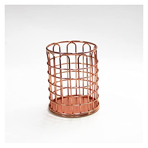 QUQU Tubo De Pluma De Hierro Forjado De Metal Nórdico Rosa Oro Hueco Papelería Depósito De Almacenamiento Escritorio De Oficina con Caja De Pluma Multifunción (Color : Rose Gold)