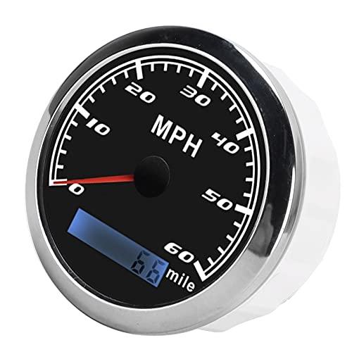Medidor De Velocidad MPH, IP67, Impermeable, Retroiluminación Roja, Motor Paso A Paso, GPS, Velocímetro Para Barco Marino, Coche, Camión(negro)