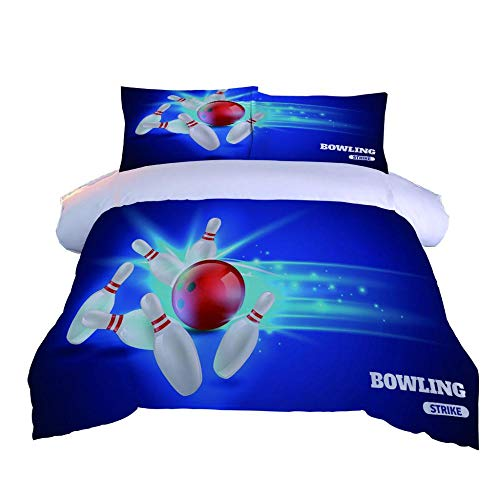 DJDSBJ Bettwäsche 240x220 Polyester Baumwolle 3D Blaue Bowlingkugel Druck bettbezug + 2 Kissenbezüge