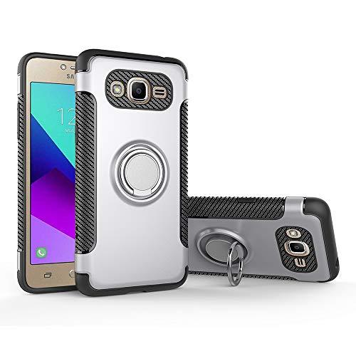 Funda para Samsung SM-G532G/DS Galaxy J2 Prime / SM-G532F/DS J2 Prime Plus / J2 Ace / SM-G530AZ Galaxy Grand Prime Funda Carcasa Case Funda + 360 grados Anillo giratorio de metal magnetico Silver