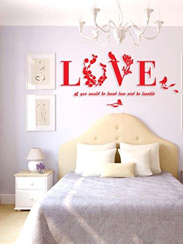 Autocollants adhésifs muraux acrylique stéréo autocollant miroir décoration chambre salon TV fond stickers muraux, 701x338mm, rouge