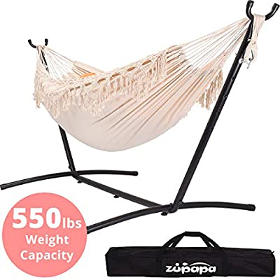 Zupapa 2 Person Hammock with Stand and Carrying Case, 550 Capacity, Portable for Living Room, Garden, Tassel Macrame White