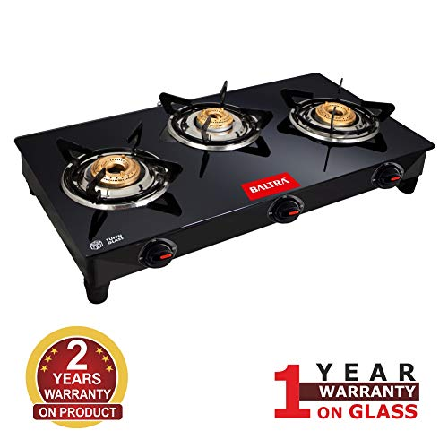 Baltra Glimmer Glass Top Gas Stove 3 Brass Burner Manual Ignition, Black (ISI Certified 1year warranty with Doorstep Service)