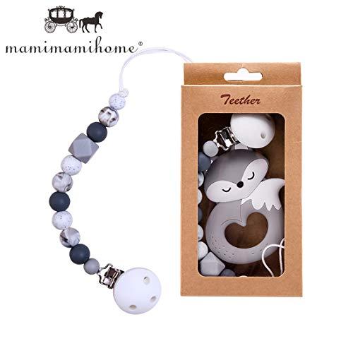 Mamimami Home Zahnen Spielzeug Handgemachte Pacfier Clip für Baby Safe Ungiftig Grau Facettenreiche...