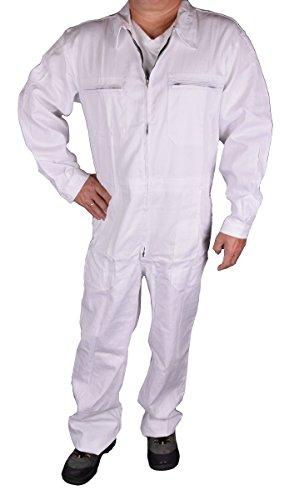 Stabiler Arbeitsoverall Arbeitskleidung Overall in Blau (50, Weiß) - 2