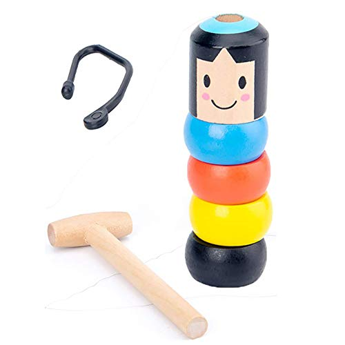 Onestmi Unbreakable Wooden Man Magic Toy, Stubborn Wood Man Magic Tricks Props Toys Children Kids Magia Easy Doing Gift for Halloween Christmas Party (Magic Toy)