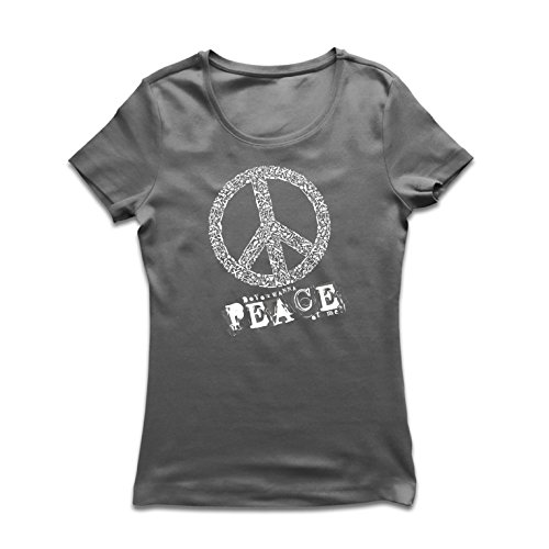 lepni.me Camiseta Mujer Do You Wanna Piece of Me - Peace Slogan, 60s 70s Hippie Festival (Medium Grafito Multicolor)