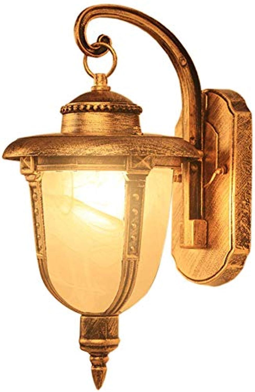 BDYJY Vintage LED-Wandleuchten, europische Wasserdichte Auenwandleuchten Mini-Aluminium-Kunstglas-Wandleuchten Auenhof Garten Balkon Tür Beleuchtung Wandleuchten E27  1 (Farbe  Messing)