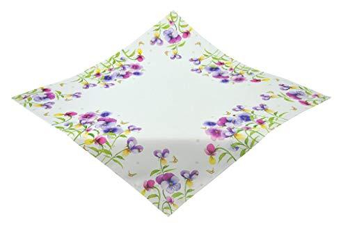 Kamaca Serie Stiefmütterchen hochwertiges Druck-Motiv mit wundervollen Hornveilchen - EIN Schmuckstück auf jedem Tisch in Frühling Sommer (Mitteldecke 85x85 cm)