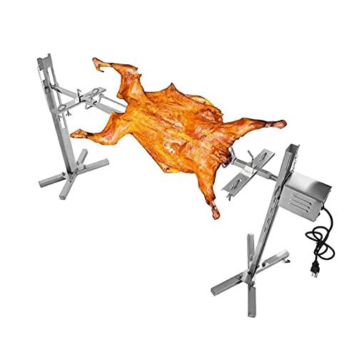LNIBA Asador eléctrico de Acero Inoxidable, Parrilla de Barbacoa Parrilla de Parrilla, Asador Giratorio Automático Pincho Brocheta, con Motor Kit de Rosticería Motorizado, 15W