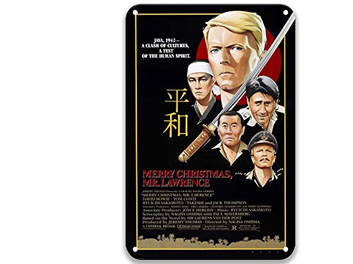 sfasf Cartel con texto en inglés 'Merry Christmas Mr. Lawrence (1983), diseño vintage de películas de metal para jardín, granja, café y bar personalizado 20 x 30 cm