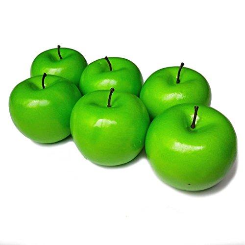 Lorigun 6 Stücke Künstliche Grüne Äpfel Simulation Gefälschte Obst Foto Requisiten Dekoration