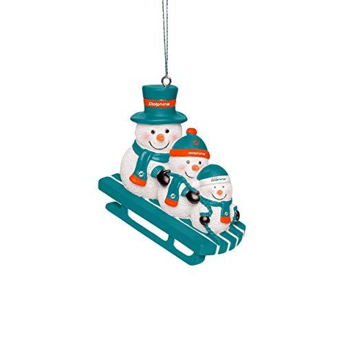 Forever Collectibles UK MIAMI DOLPHINS SNOWMEN SLEDDING ORNAMENT