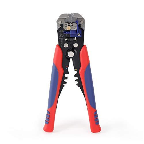 WORKPRO 200mm Automatische Abisolierzange, Selbsteinstellende Crimpzange, Drahtschneider, Multitool zum Abisolieren für Kabel von 10-24 AWG (0,2-6mm²)