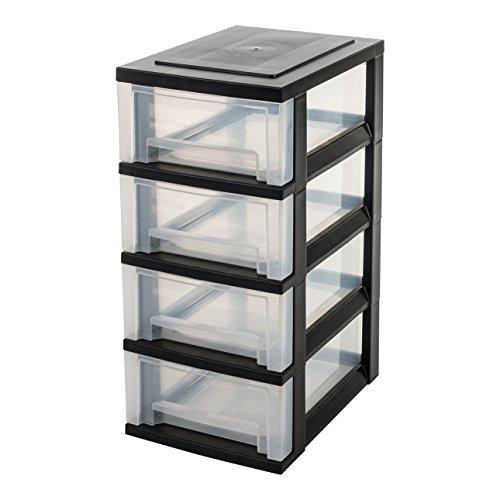 Iris Schubladenschrank / Schubladenbox / Rollwagen / Rollcontainer / Werkzeugschrank Smart Drawer Chest, SDC-004, mit Rollen, Kunststoff, schwarz / transparent