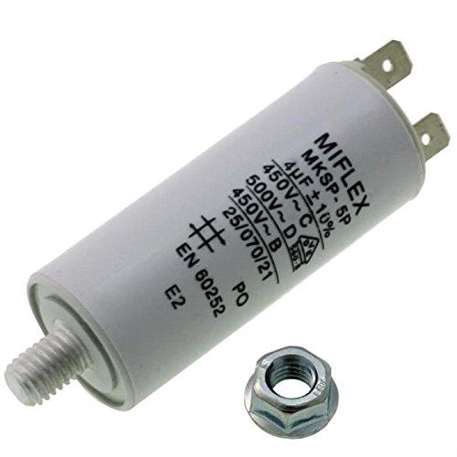 Condensador de Arranque de Motor 4 µF, 450V 25X 58mm, Conector M8, Miflex, 4 uF.