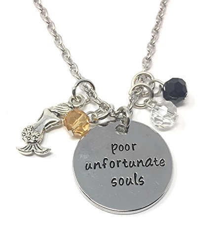 Cadoline Silver-Tone 'Poor Unfortunate Souls' Engraved Pendant Necklace 2.5cm Diamater with 18 Inch Chain The Little Mermaid Ursula