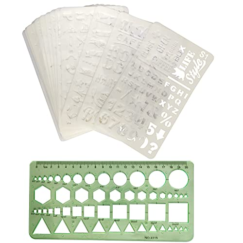 MiniY-1 Uds, Plantilla de medición de plástico verde, regla geométrica de oficina y escuela, construcción de plantillas, plantilla de dibujo de ingeniería