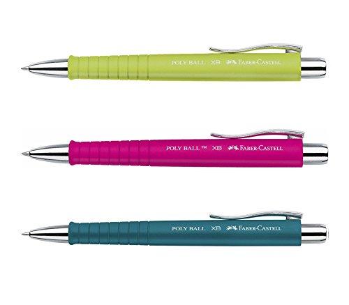 3 Stück Faber-Castell Kugelschreiber Set POLY BALL Pink Lime Petrol Druckkugelschreiber, Großraum Mine blau 0,5mm XB, ergonomische Dreieckform, rutschfest, Clip, dokumentenecht + GRATIS Ersatzmine