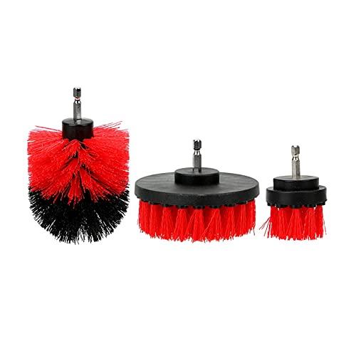 seductive GF 3 unids/Set Herramienta de Limpieza de automóviles Auto Detallado de Limpieza Hard Bristle Car Auto Cuidado Automóvil Pincel de Coche Scrubber Kit GJF (Color : Red)