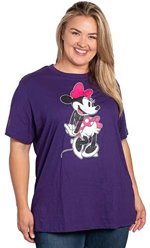 Disney Women's Plus Size T-Shirt Minnie Mouse Print (Purple, 1X)