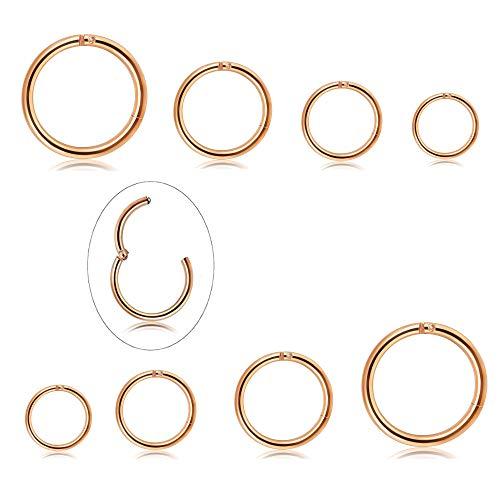 Milacolato 4 Pairs Edelstahl 16G Sleeper Ohrringe Septum Clicker Nase Lip Ring Piercing