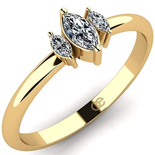 Impresionante anillo de oro amarillo de 9K 375 con 3 piedras de circonita marquesa en un diseño elegante - Anillo de compromiso para mujeres con cristal de Swarovski - Regalo de anillo de oro