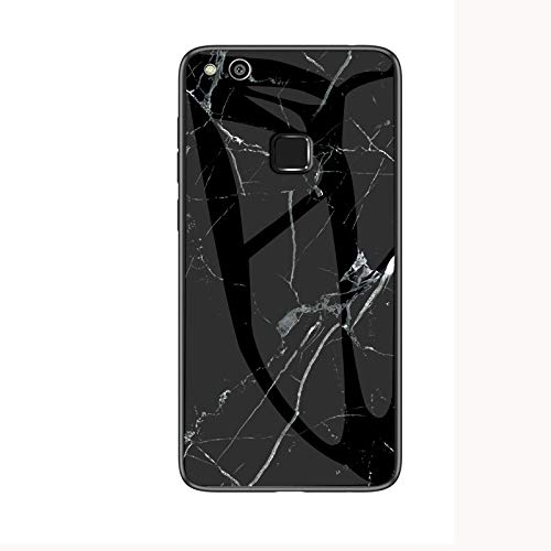 COVO® Funda para Huawei P10 Lite Marmol Case Tapa Trasera de Cristal Templado con TPU Edge Carcasa para Huawei P10 Lite (Blanco Negro)