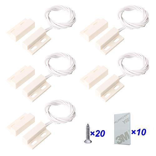 Gebildet 5pcs Cableado Empotrado Seguridad de Ventana/Puerta Sensor de Contacto Alarma,Interruptor de Láminas Magnético (Blanco),Normalmente Cerrado Sensor de Puerta Magnético