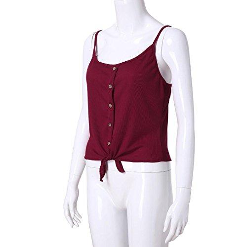 Spbamboo Clearance Women Button Sleeveless Solid Top Vest Tank Shirt Blouse Tops