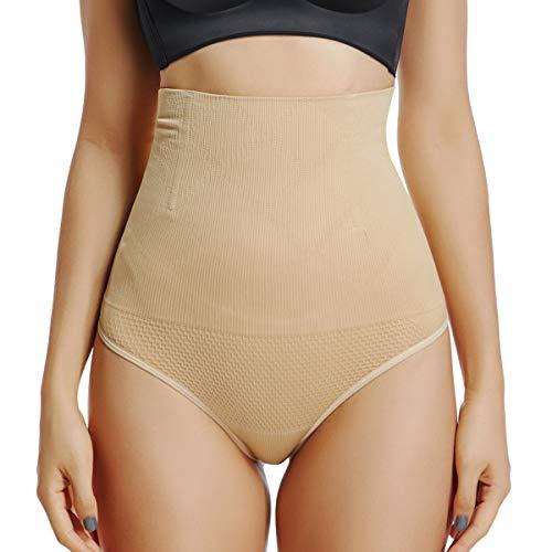 Woweny Unterhosen Tanga Damen Hohe Taille Taillenformer Elastisch Slips Panties Frauen Bauchweg Miederslips, Beige, S