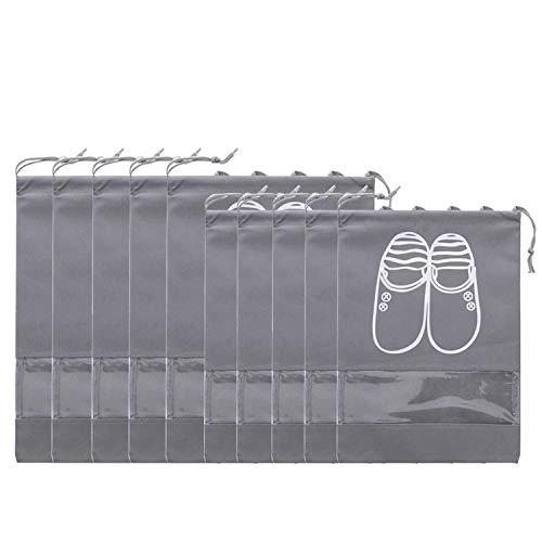 AVESON Pack of 10 Portable Travel Shoe Organiser Bag for Boots, High Heel - Drawstring, Transparent Window, Space Saving Storage Bags, 5 Large + 5 Medium Size, Grey