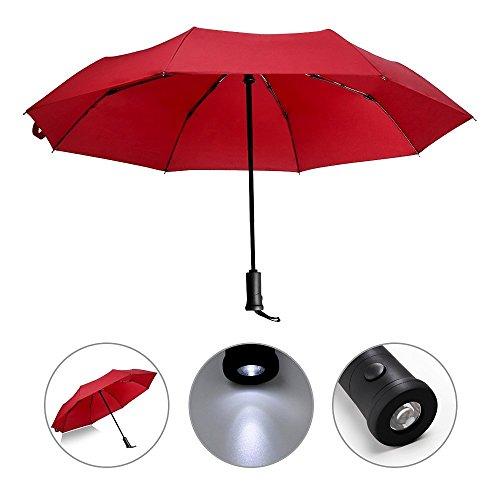 Automatischer Regenschirm mit LED-Griff, reflektierend, wendbar, faltbar, Sicherheit, Regen- und UV-Schutz, winddicht und wasserdicht, rot